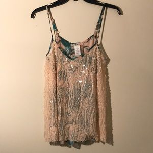 ANTHROPOLOGIE pink sequin palm print tank SMALL